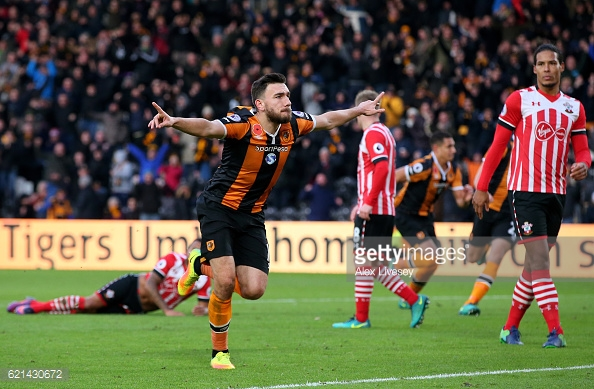 Snodgrass celebrates after his goal. Photo: getty