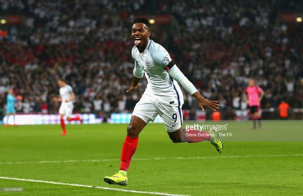 Sturridge has been in action with England the past two weeks. Here he is celebrating his goal which helped England beat Scotland 3-0 in their World Cup qualifier.