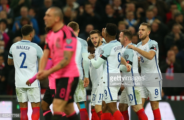 Lallana celebrates his England goal. Photo:Catherine