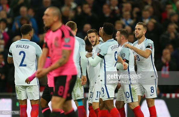 Lallana celebrates his England goal. Photo:Catherine