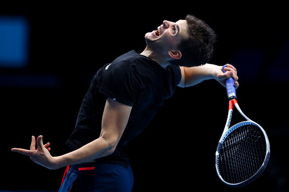 Dominic Thiem practices prior his first match in the ATP World Tour Finals. Photo: Clive Brunskill / Getty Images Sport