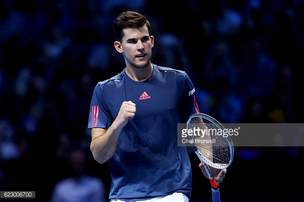 Thiem won a marathon opening set, taking it 12=10 on a sizzling forehand winner/Photo: Clive Brunskill/Getty Images