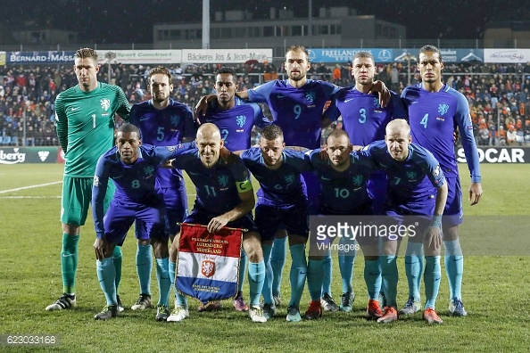 Lining up alongside Dutch teammates for qualifier against Luxembourg. Photo: GettyImages / VI-Images