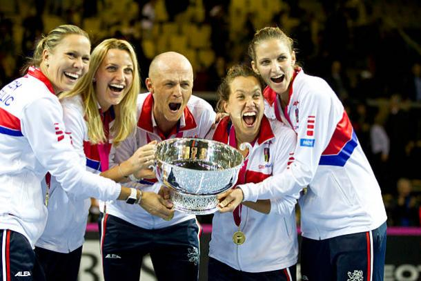 Kvitova (second from left) celebrating Czech Republic's Fed Cup triumph with the Czech team, where they defeated France in the final for their fifth title in the last six years. Photo credit: NurPhoto/Getty Images.
