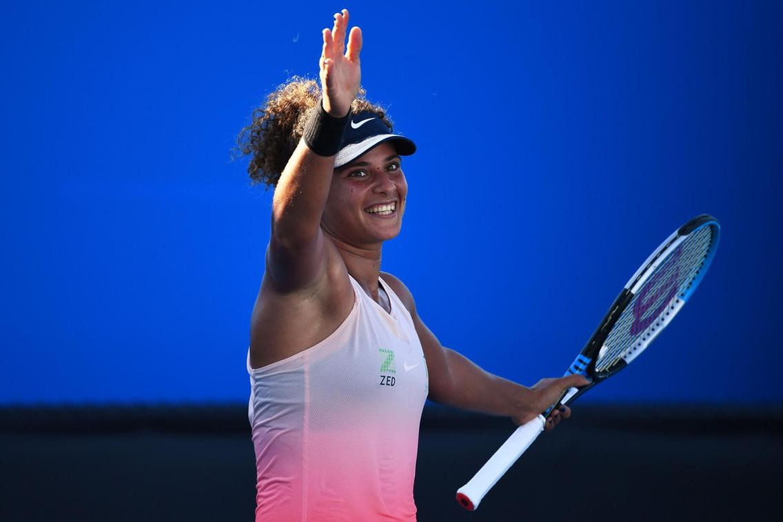 The Egyptian celebrates after her win/Photo: ADP