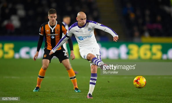 Shelvey has been Newcastle's most inspiring player this season. Photo: Getty/ Stu Forster