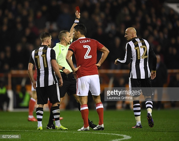 Shelvey is shown red by referee Stephen Martin. Photo: Getty/