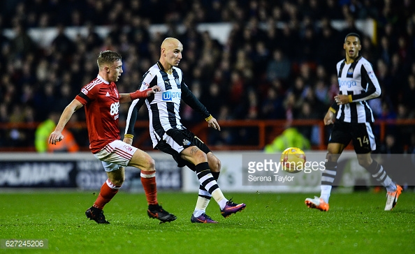 Shelvey before his City Ground dismissal. Photo: Serena Taylor/ Getty
