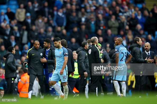 Aguero is sent off at the weekend after a reckless challenge on David Luiz. Photo: Chris Brunskill/Getty