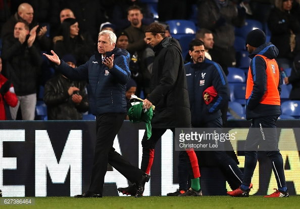 Pardew gestures towards the fans at Selhurst Park, thanking them for their support. Photo: Getty/Christopher Lee