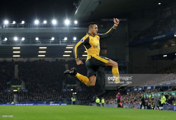 Alexis Sanchez celebrates his opener. | Photo: Getty Images/Chris Brunskill - AMA