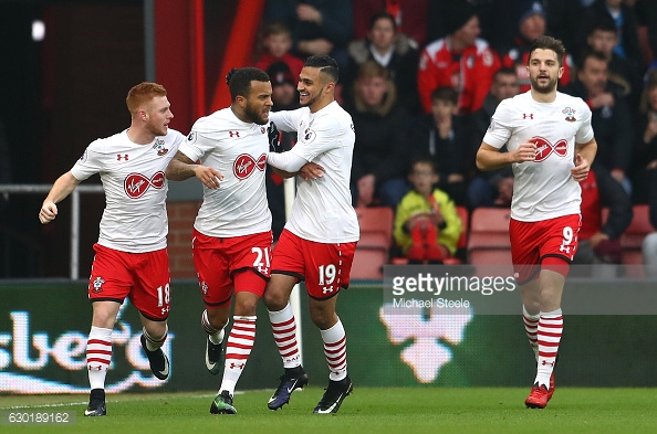 Bertrand is congratulated by his team-mates after scoring the equaliser. Photo: Getty.