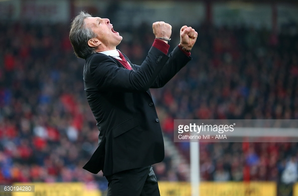 Manager Puel celebrates Rodriguez's special strike. Photo: Getty.