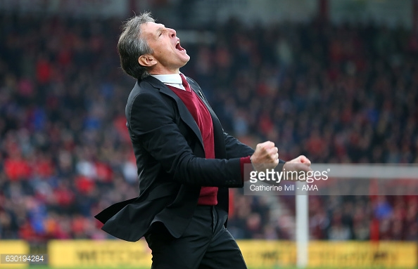 An eruption of emotion for Puel after Rodriguez's brilliant second. Photo: Getty / Catherine Ivill - AMA