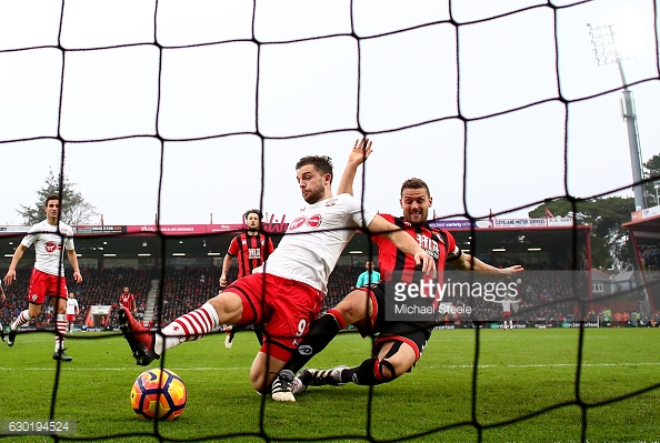 Rodriguez slides in Southampton's second. Photo: Getty.