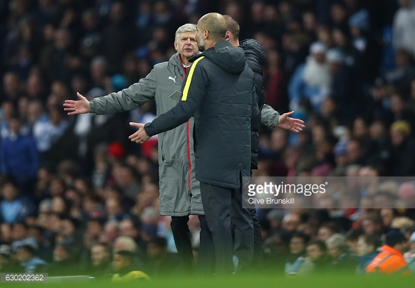 Arsene Wenger and Pep Guardiola, two managers who face heavy criticism. Photo: Getty / Clive Brunskill