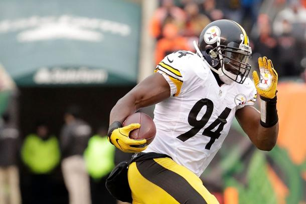 Timmons was one of the leading tacklers on the Steelers line | Source: Andy Lyons/Getty Images