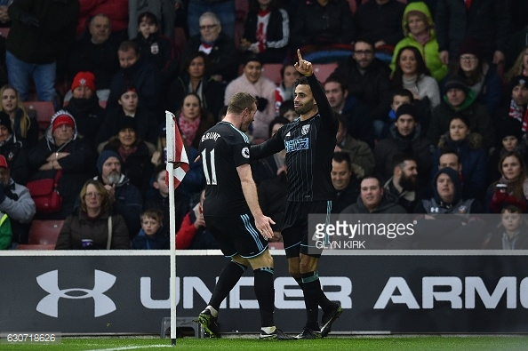 West Brom won 2-1 when the sides met at St Mary's this season. Photo: Getty.