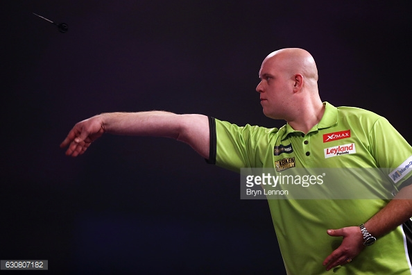 Van Gerwen did find himself 2-1 down in the match. (picture: Getty Images / Bryn Lennon)