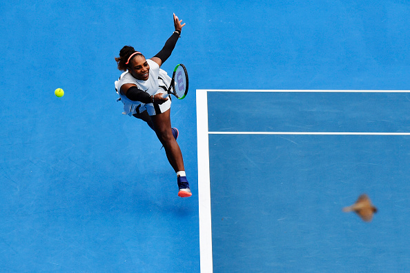 Serena Williams in action during her first round match at the ASB Classic in Auckland. Photo: Getty Images / Hannah Johnston