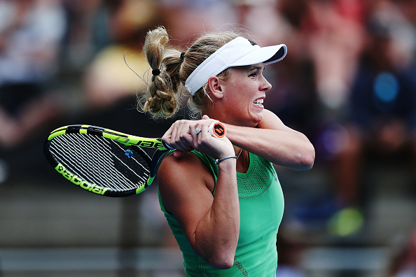 Caroline Wozniacki hits a backhand during her match at the ASB Classic in Auckland. Photo: Getty Images/Anthony Au-Yeung