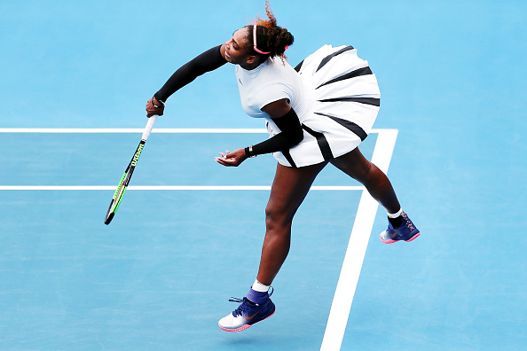 Serena Williams in action during her first round match at the ASB Classic in Auckland. Photo: Getty Images / Anthony Au-Yeung