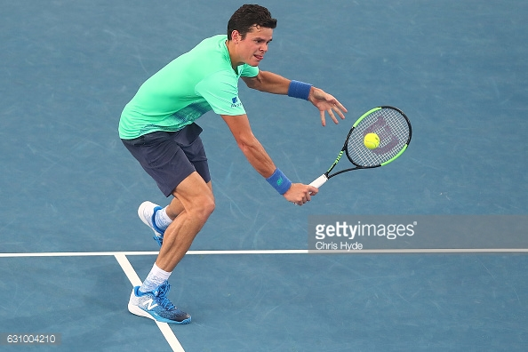 Raonic plays a backhand during his second round win/Photo: Chris Hyde/Getty Images