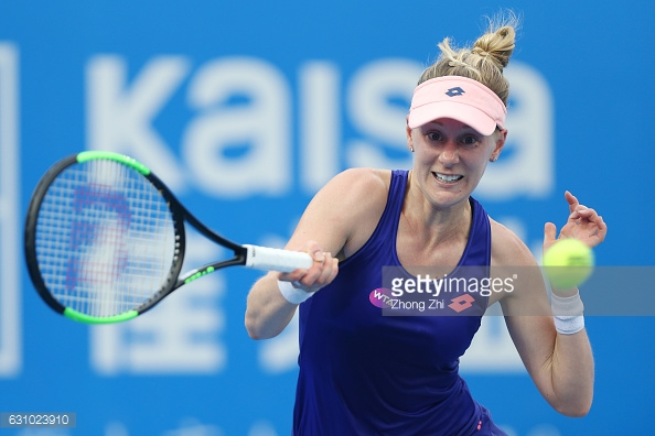 Riske hits a forehand during the match/Photo: Zhong Zhi/Getty Images