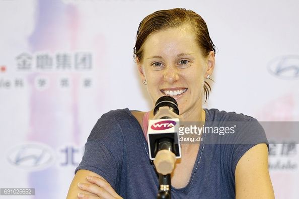 Riske speaks to the media after her big win/Photo: Zhong Zhi/Getty Images