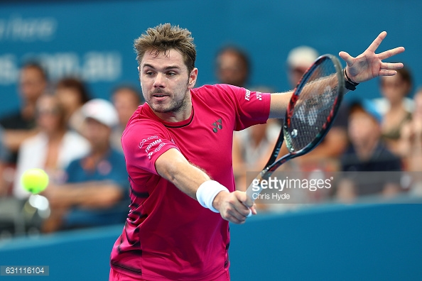 Wawrinka plays a backhand during his semifinal match in Brisbane/Photo: Chris Hyde/Getty Images