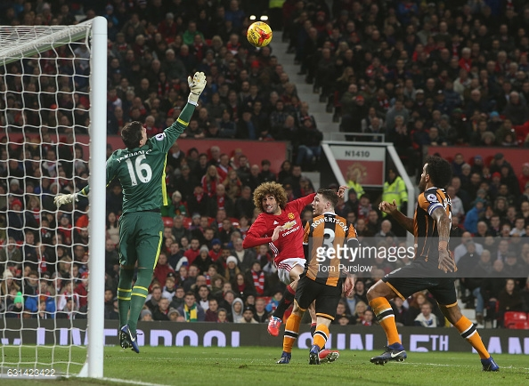 Fellaini heads in a crucial second goal (photo: Getty Images)