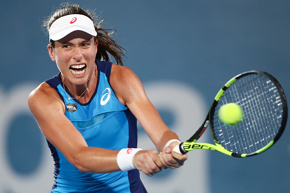 Johanna Konta hits a backhand during her semifinal match in Sydney. Photo: Brendon Thorne/Getty Images