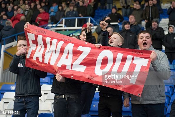 Forest fans protested against Fawaz Al-Hasawi. (picture: Getty Images / Nathan Stirk)
