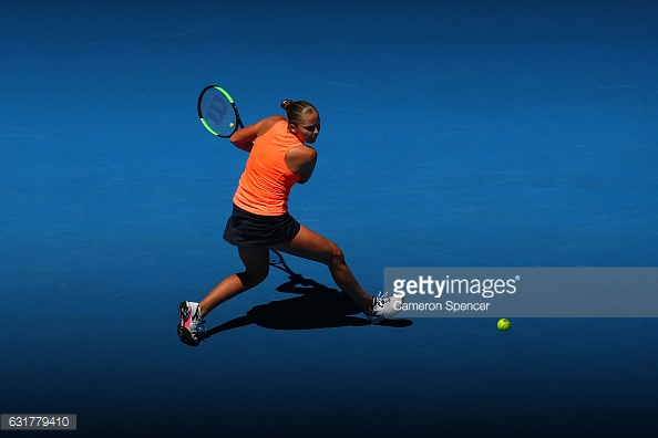 Rogers' backhand was one of her many weapons that was on full display during her win/Photo: Cameron Spencer/Getty Images