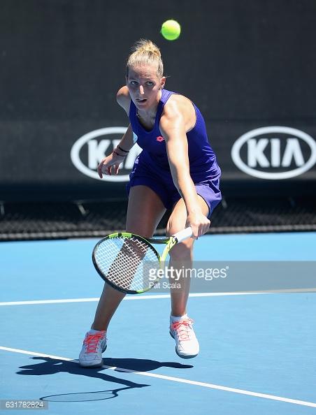 Pliskova plays a forehand/Photo: Pat Scala/Getty Images