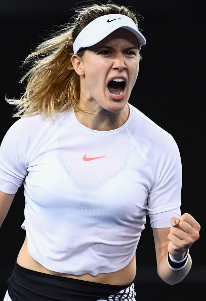 Eugenie Bouchard celebrates after defeating Louisa Chirico in the first round of the Australian Open. Photo: Getty Images/Quinn Rooney