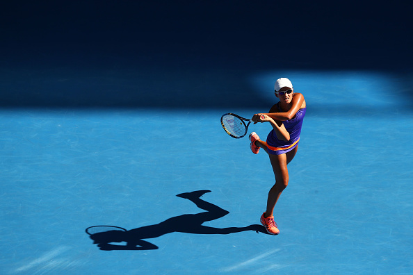 Arina Rodionova hits a backhand during her first round match at the Australian Open. (Photo: Getty Images/Ryan Pierse)