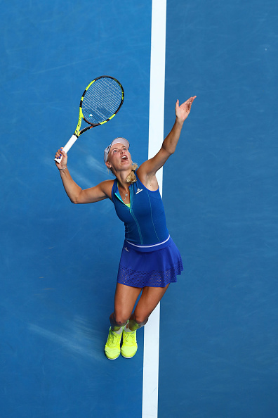 Caroline Wozniacki serves during her first round match at the Australian Open. (Photo: Getty Images/Ryan Pierse)