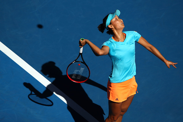 Shuai Peng serves during her second round match of the Australian Open. (Photo: Getty Images/Clive Brunskill)