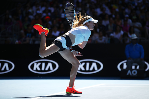 Eugenie Bouchard serves during her second round match of the Australian Open. (Photo: Getty Images/Clive Brunskill)