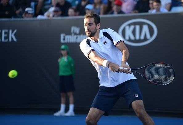 Marin Cilic hits a backhand during the 2017 Australian Open. Photo: Getty Images/Anadolu Agency