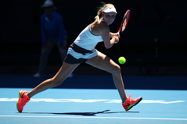 Donna Vekic plays a backhand during her second round match at the Austalian Open. (Photo: Getty Images/Clive Brunskill)