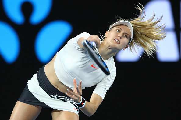 Eugenie Bouchard serves during her third round match at the Australian Open. ( Photo: Getty Images/Cameron Spencer)
