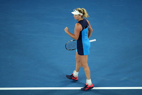 Coco Vandeweghe celebrates during her third round match at the Australian Open. ( Photo: Getty Images/Cameron Spencer)