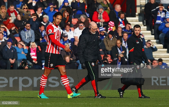 Virgil Van Dijk's injury left Southampton very short at the back. Photo: Getty.