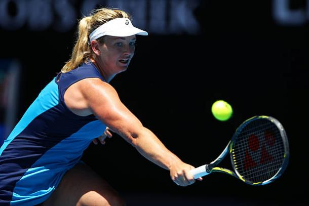 Coco Vandeweghe in action during her quarterfinal win over Garbine Muguruza at the Australian Open (Getty/Clive Brunskill)