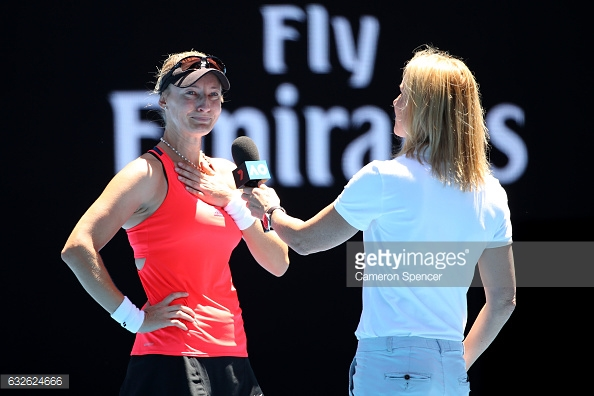 An emotional Lucic-Baroni during her on-court interview following her quarterfinal victory at the Australian Open/Photo: Cameron Spencer/Getty Images