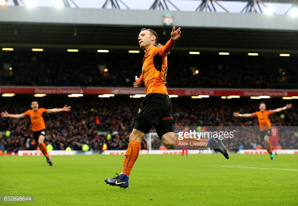Weimann celebrates scoring Wolves' second at Anfield. (picture: Getty Images / Alex Livesey)