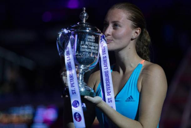 Mladenovic posing with her St Petersburg winners trophy | Photo: NurPhoto/Getty Images