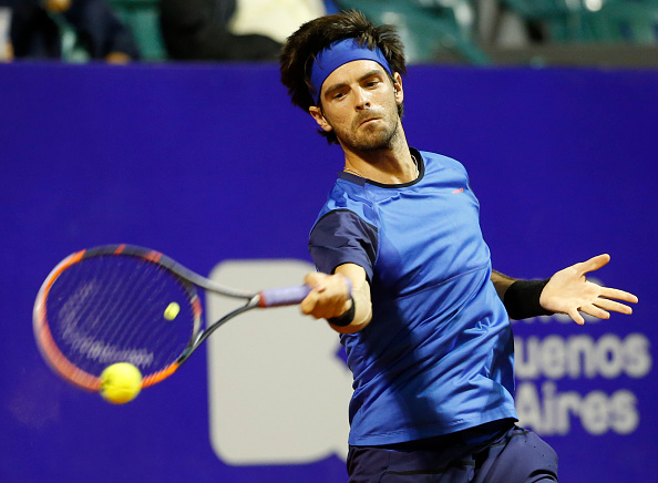 Gastão Elias of Portugal takes a forehand shot during a first round match between Leonardo Mayer of Argentina and Gastao Elias of Portugal as part of ATP Argentina Open at Buenos Aires Lawn Tennis Club on February 13, 2017 in Buenos Aires, Argentina. (Gabriel Rossi/LatinContent/Getty Images)